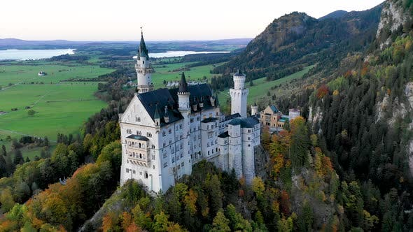 Thumbnail for Aerial View of Neuschwanstein Castle Before Sunset, Autumn in Germany