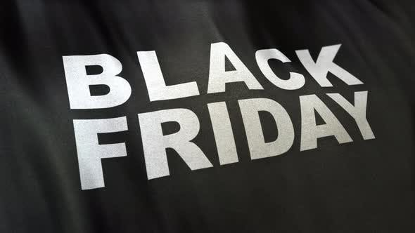 Thumbnail for Black Friday slogan in white letters on full-frame black satin textured flag