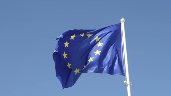 Thumbnail for European Union flag rised on white flag-pole waving on wind 4K 2160p 30fps UltraHD footage - Symbol