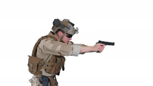 Modern Soldier Counter Terrorist Squad Fighter Aiming and Shooting with Pistol on White Background