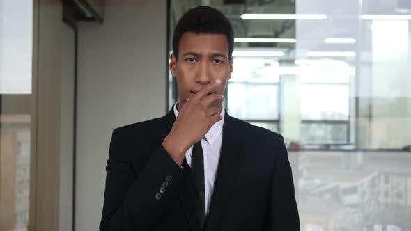 Amazed Black Businessman in Suit, Surprised Gesture
