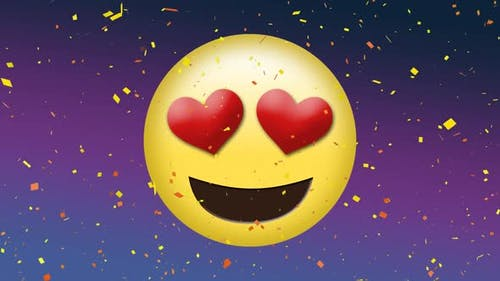 Loved up emoji with heart eyes