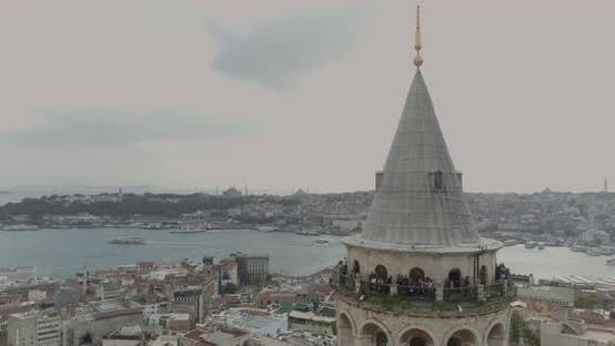 Thumbnail for Istanbul Galata Tower And Golden Horn Aerial View 3