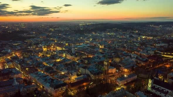 Thumbnail for Flight Above the Roofs on Sunset. Old European City. Ukraine Lviv