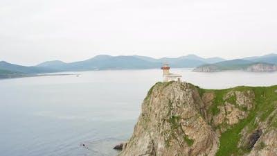 Lighthouse Baluzek on the Coast of the Sea of Japan