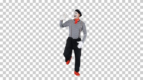 Mime artist smile and simulate walking, Alpha Channel