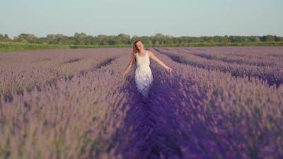 Girl in the White Dress Walks Among Lavender Plants