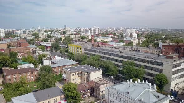 Thumbnail for Aerial Moving Panorama of Big City in Sunny Summer Day, Camera Flies