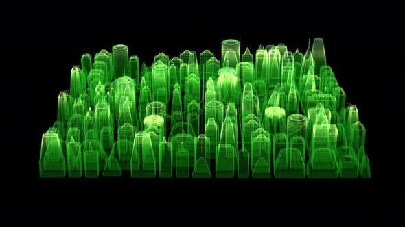Futuristic Holographic Digital Matrix City HUD