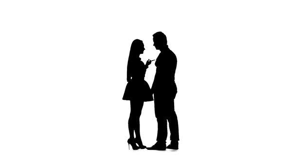 Thumbnail for Girl and Man Are Arguing, They Have a Scandal. Silhouette. White Background. Slow Motion