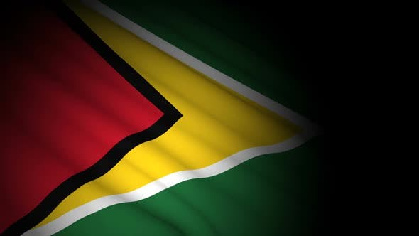 Guyana Flag Blowing in Wind
