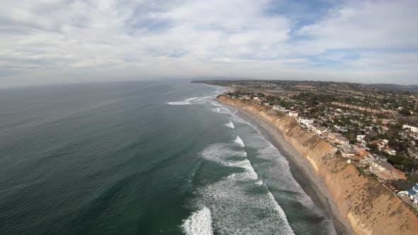 Thumbnail for Solana Beach California Coastline Aerial View Flying Towards Fletchers Cove