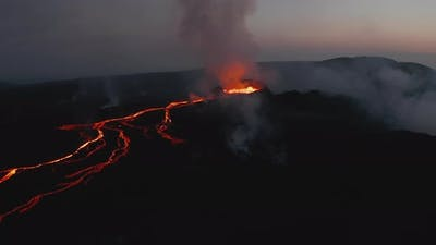 Aerial View of Volcanic Landscape at Dawn