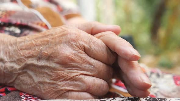 Thumbnail for Wrinkled Arms of Senior Woman Outside. Grandmother Stroking Her Hands Outdoor. Close Up Side View