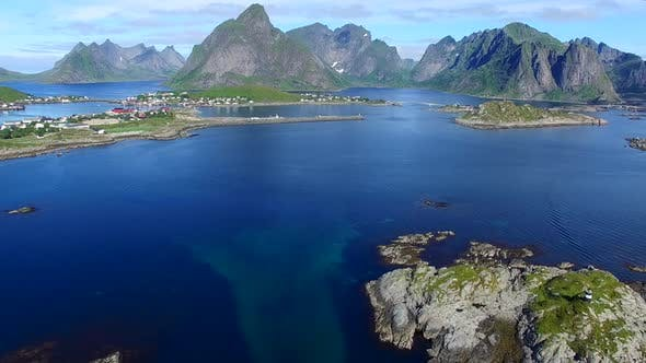 Thumbnail for Aerial view of Reine on Lofoten islands, Norway