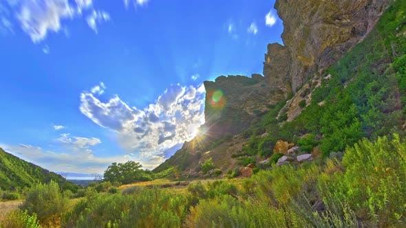 Time-lapse of lush canyon