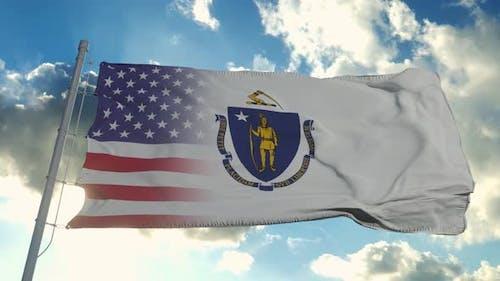 Flag of USA and Massachusetts State