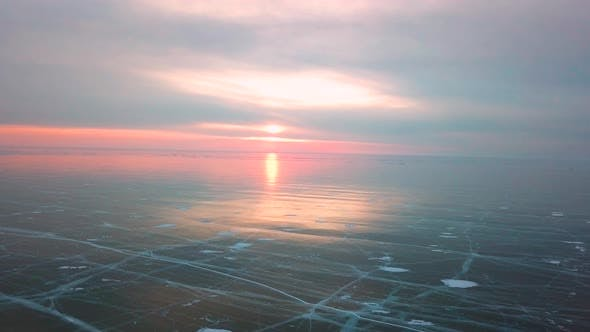 Thumbnail for Ice with Cracks in Lake Baikal in Winter. Aerial View. Siberia, Russia.