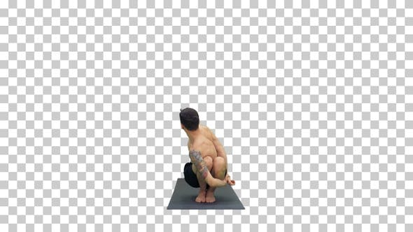 Young man doing squat with twist and bend yoga, Alpha Channel