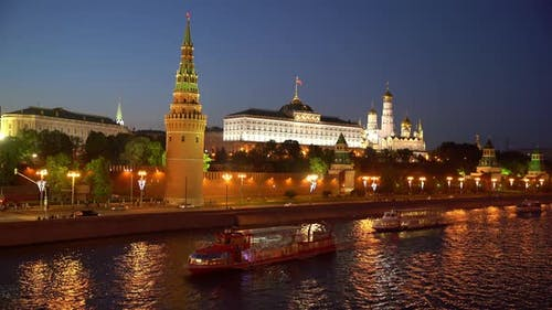 Moscow, Night View of the Kremlin TimeLapse.