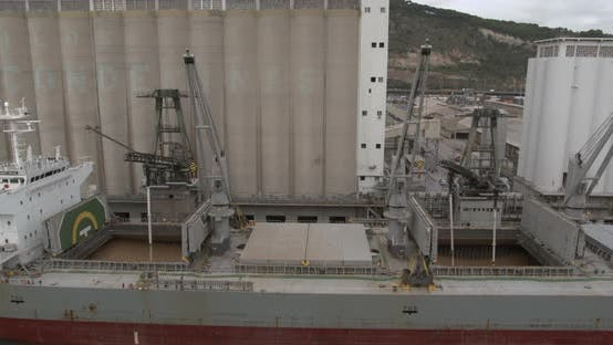 Thumbnail for Aeial View. Loading of Grain on a Ship. Port. Cargo Ship.