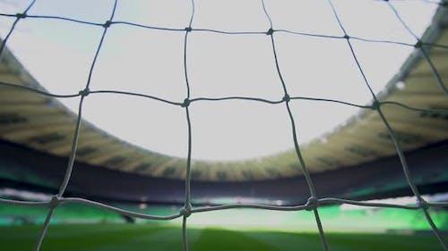 Netz im Fußballtor im Stadion