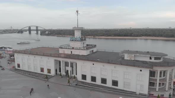 River Station in Kyiv. Ukraine. Aerial