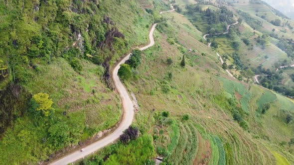 Aerial View of Dangerous and Winding Road in the Mountains of Vietnam