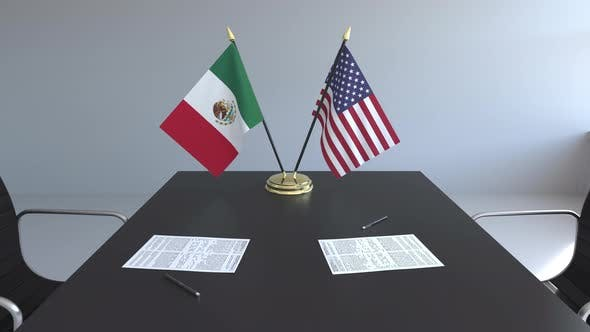 Thumbnail for Flags of Mexico and the United States on the Table