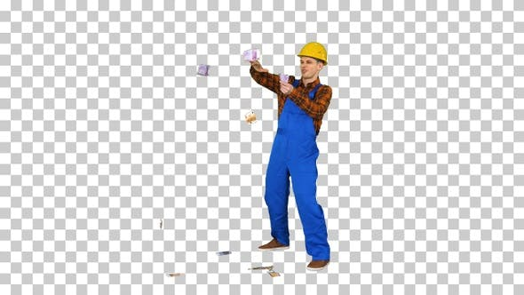 Thumbnail for Comic builder in a hard hat throwing euro, Alpha Channel