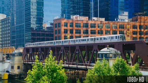 Chicago Elevated L Train Traveling into the Downtown Chicago Loop