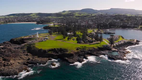 Kiama, a Resort Town in Australia. An Aerial View of the Picturesque Rocky Headland. A White