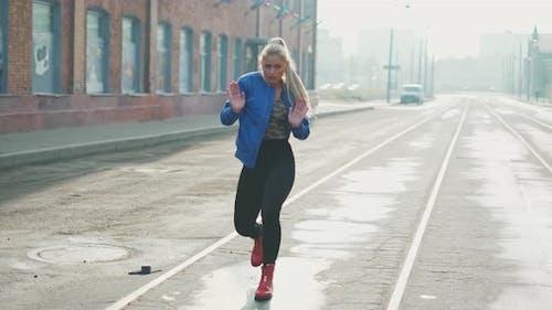 Blonde Woman Dancing Performs Modern Hip-hop Dance Posing, Freestyle in Street, Urban. Stock Footage