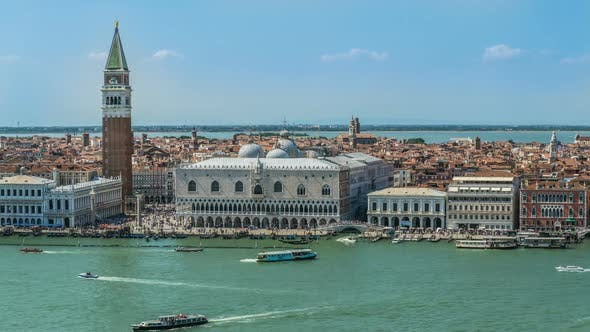 Thumbnail for Doge Palace and Saint Mark Tower, Many People in Venice Streets, Boats on Canal