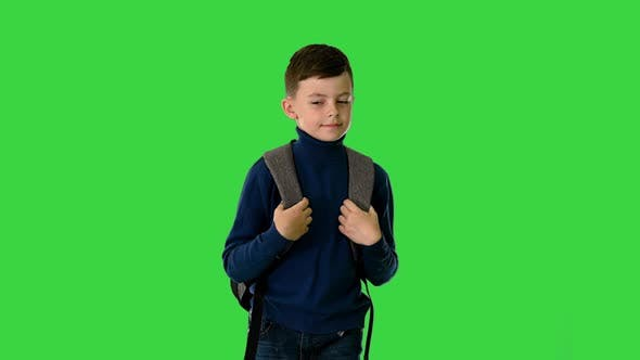 Boy in Polo Neck Walking with a Backpack Looking at Camera on a Green Screen Chroma Key