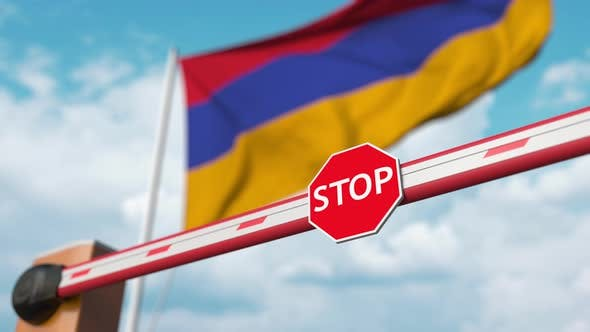 Barrier Gate Opened Flag Armenia As Background