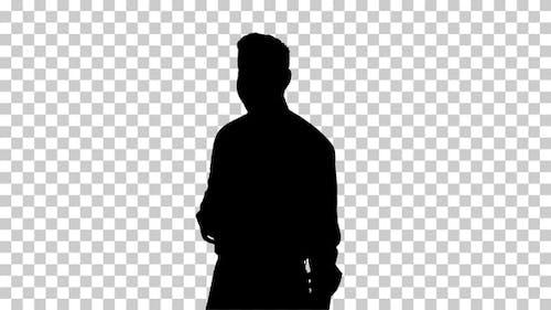 Silhouette  businessman take , Alpha Channel