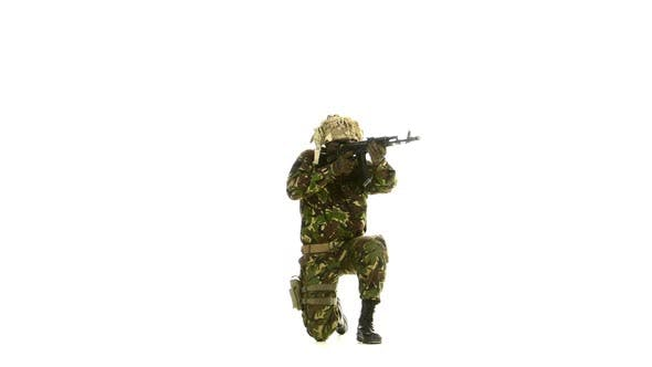 Thumbnail for Armed Soldier Stands on One Knee. White Backgraund