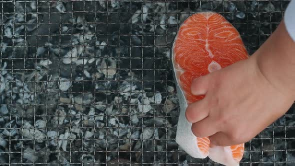 Thumbnail for Salmon Steak Grilling on Charcoal Grill. Closeup Grilling Salmon Fillet on Grill
