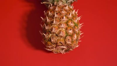 Pineapple Resting on Red Surface