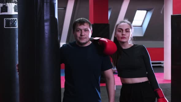 Thumbnail for Woman and Man in the Gym  Boxing Training