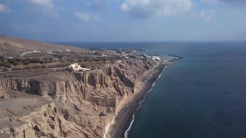 Aerial View of Vlihada Beach, Santorini Island