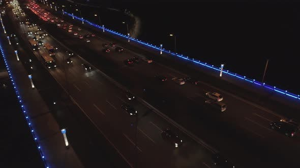 Aerial Drone Shot of Road Vehicles Night Traffic