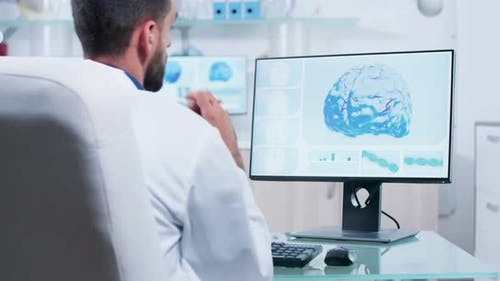Doctor Looking at 3D Brain Scan on the Monitor