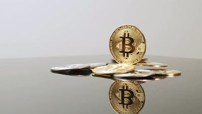 Bitcoin cryptocurrency. Golden bitcoin