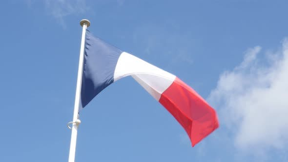 Thumbnail for French flag in front of blue sky slow waving on wind 4K 3840X2160 UltraHD footage - Flag of France i