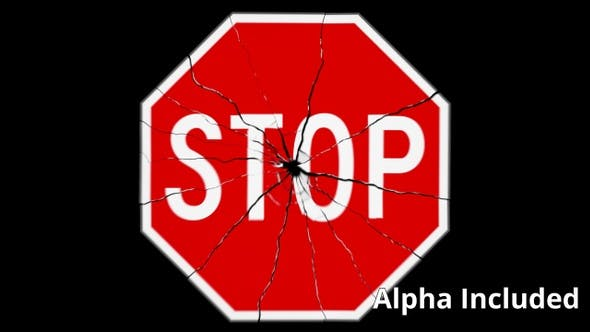 Thumbnail for Red and White Stop Sign Shattering with Matte