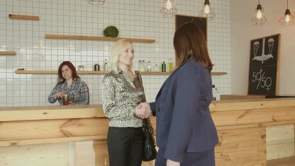Adult Businesswomen Handshaking Meeting in Cafe