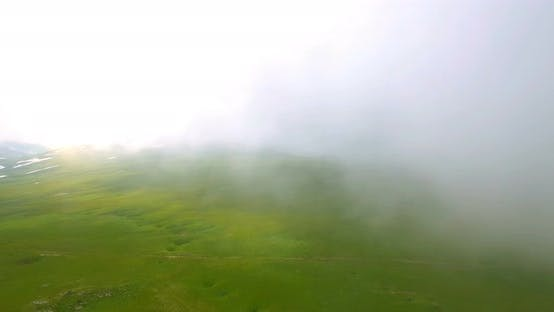 Thumbnail for Aerial View Caucasus Mountains In The Fog In Bad Weather