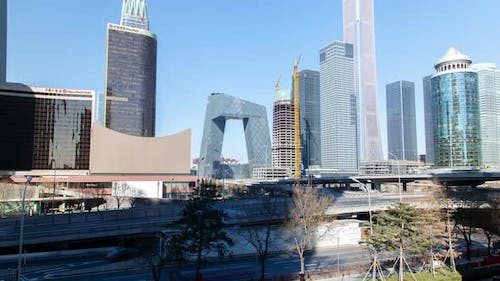 Beijing Business District at Chinese Buildings Timelapse